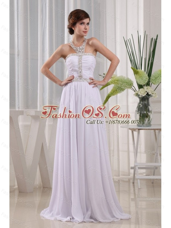 2013 Prom Dress Beading and Ruch  Empire White With Halter