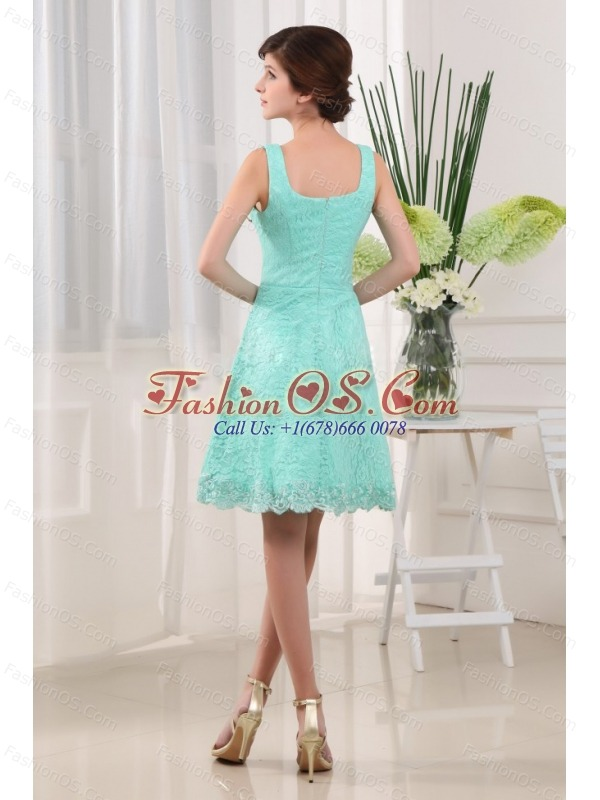 Apple Green Square A-Line Mini-length Lace 2013 Prom Dress
