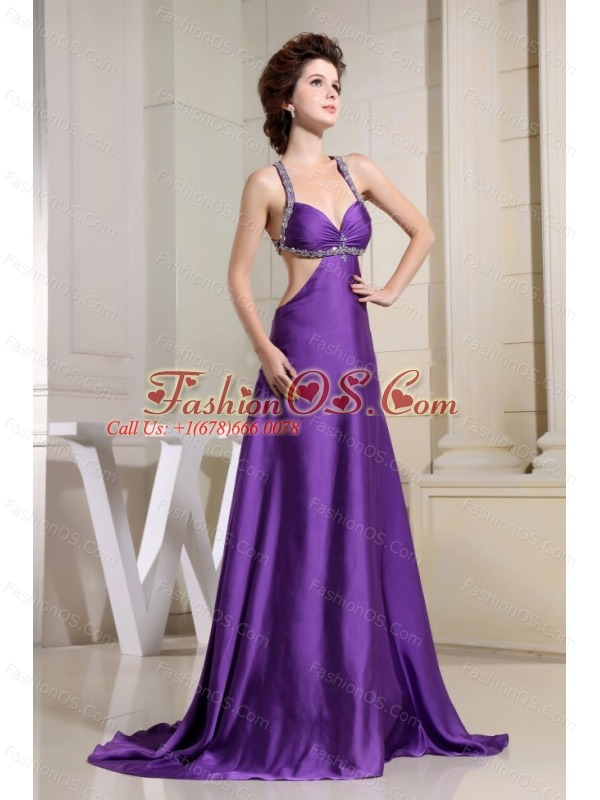 Beaded Decorate Straps For Purple Custom Made Prom Dress