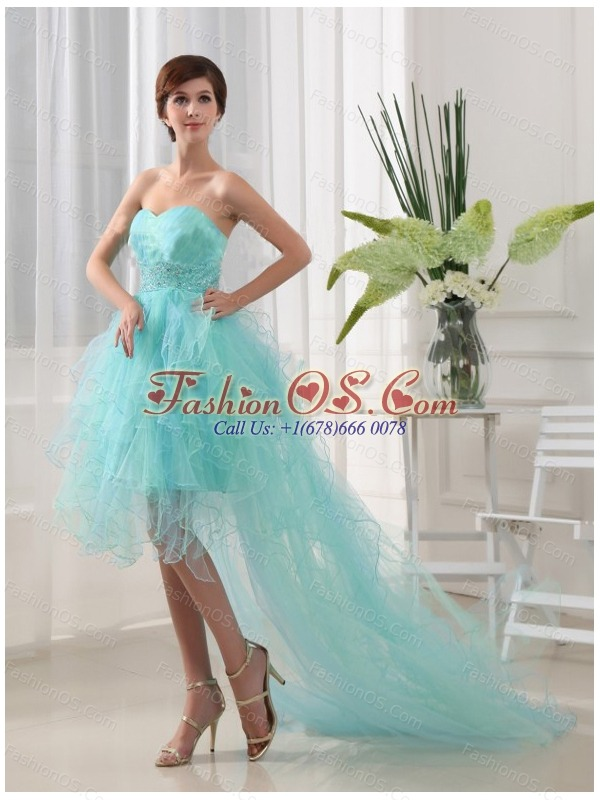 Beading Column Sweetheart Organza High-low Prom Dress Blue