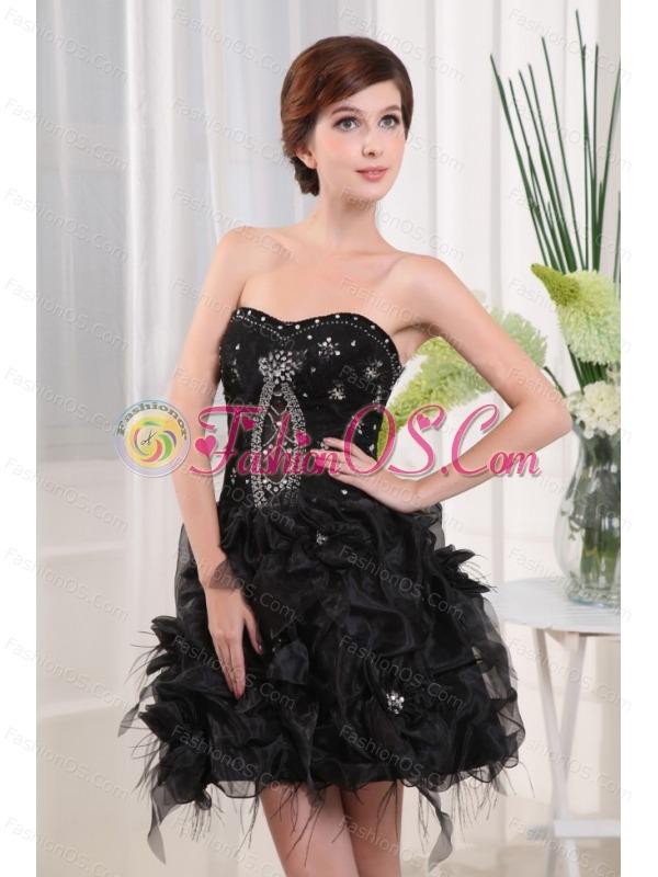 Beading Strapless A-Line Black Tulle Mini-length Prom Dress