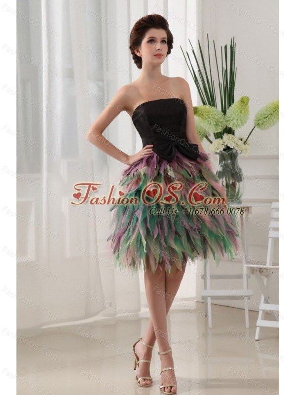 Colorful Prom Dress With Bowknot Ruffles For Custom Made