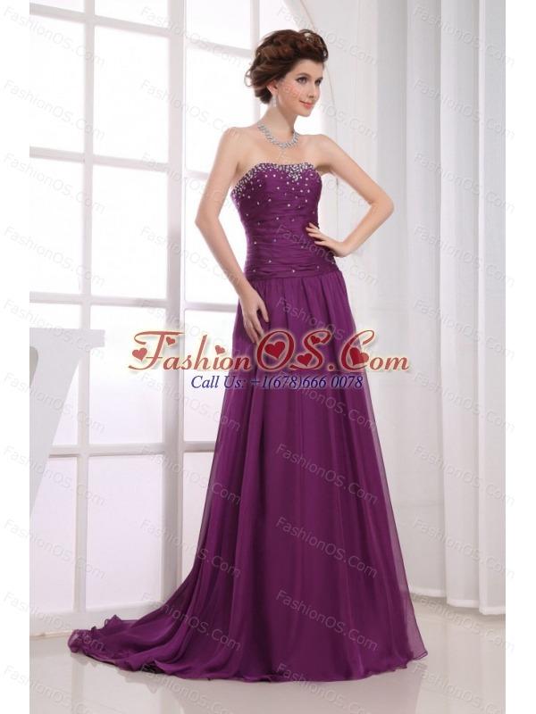 Fuchsia Beaded Decorate Prom Celebrity Dress Empire Strapless Brush Train In 2013