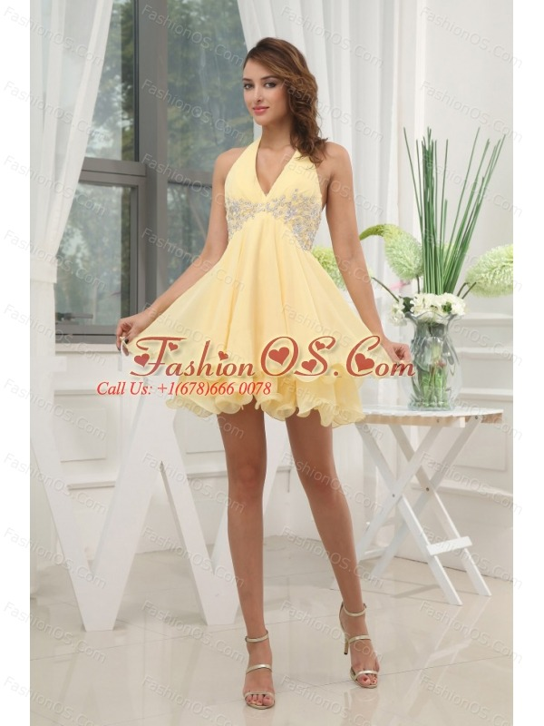 Halter Yellow Homecoming / Cocktail Dress With Appliques Mini-length Chiffon