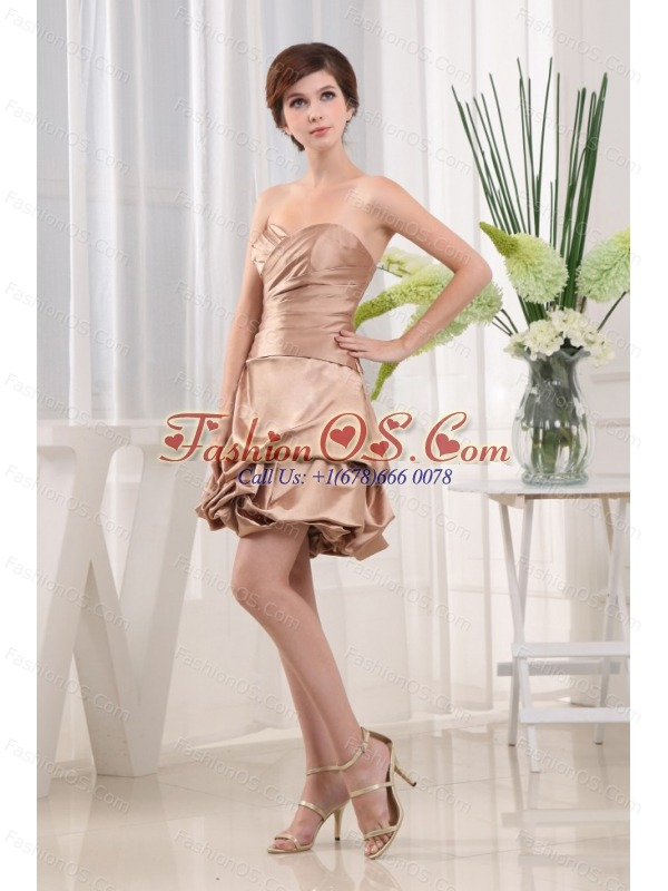 Modest Prom Cocktail Dress Sweetheart Champagne Mini-length