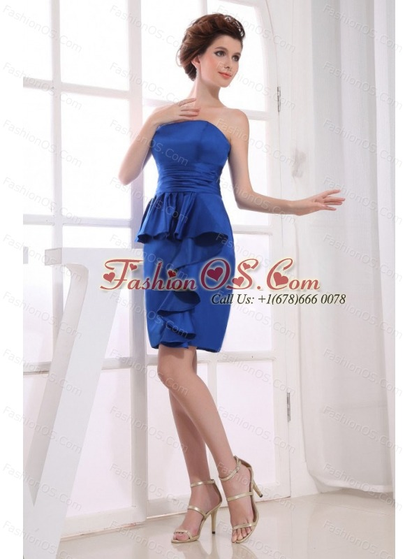 Royal Blue Prom Dress With Mini-length and Strapless