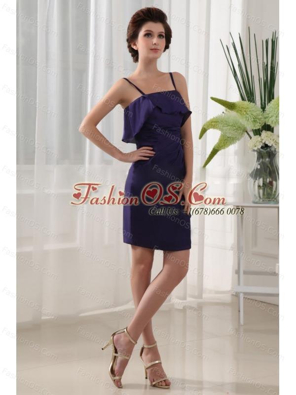 Ruffles Column Mini-length Chiffon Straps Prom Dress Purple