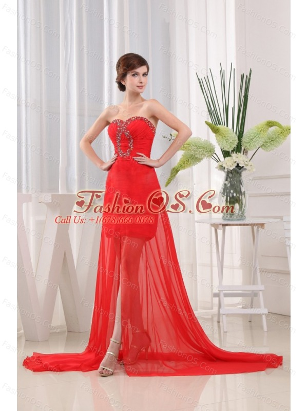 Sweet Red Prom Dress Sweetheart Brush Train Beading and Ruch