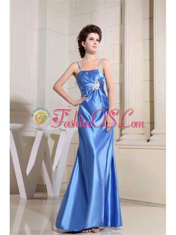 Beading Sky Blue Prom Dress With Straps Floor-length Satin