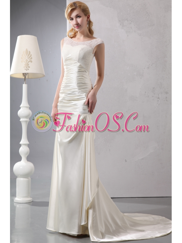 Beautiful Column Scoop Court Train Satin Lace Wedding Dress