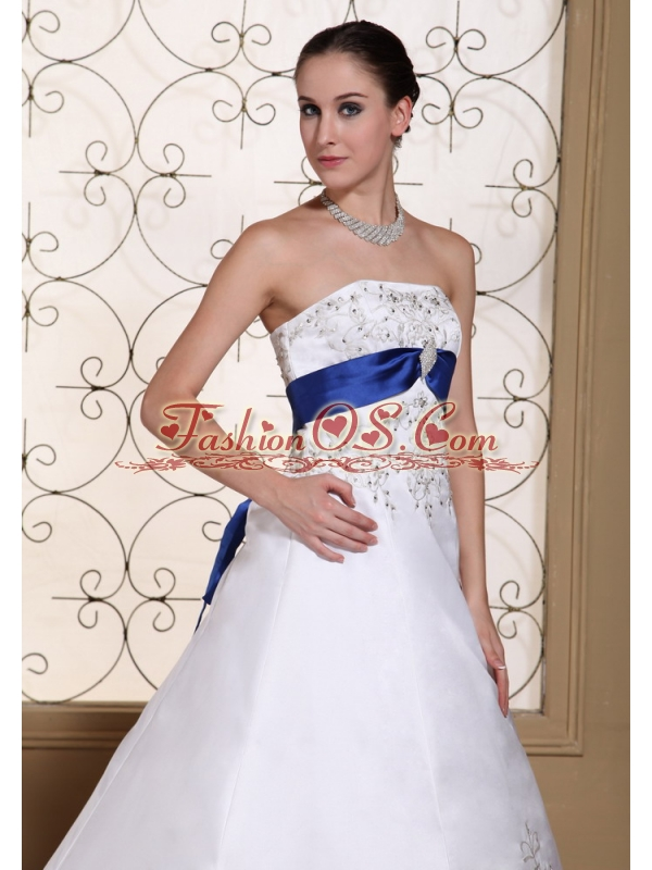 Embroidery With Beading In Satin Modest Chapel Train For 2013 Wedding Dress