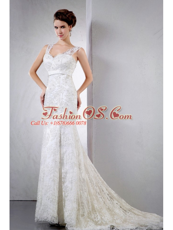 2013 Lace Wedding Dress With V-neck Court Train Clasp Handle For Custom Made