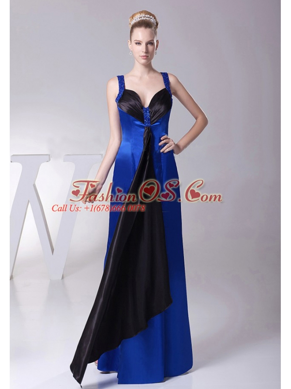 2013 Straps Blue Beaded Decorate Shoulder Custom Made Mother Of The Bride Dress