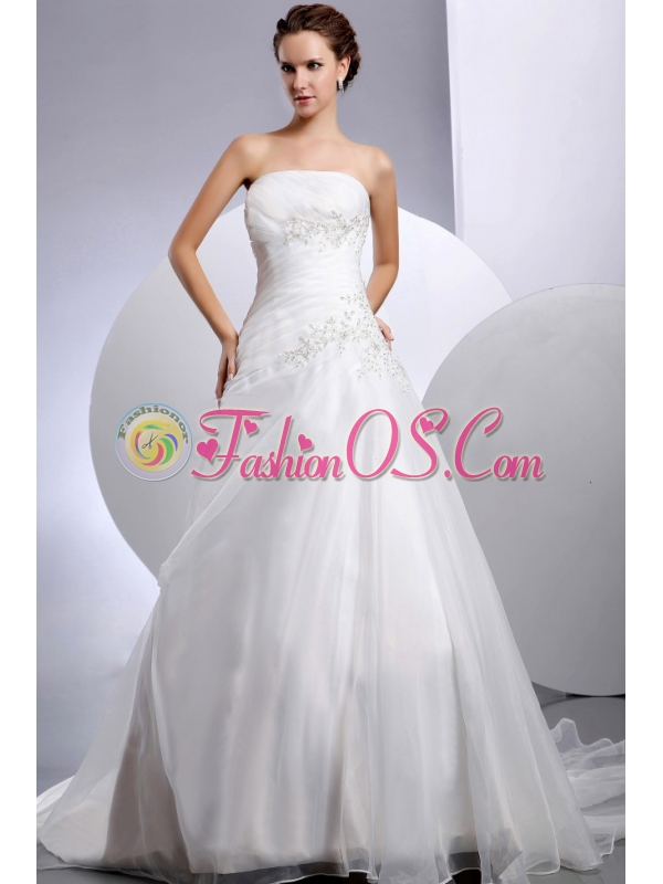 2013 Wedding Dress With Appliques A-line Court Train For Custom Made