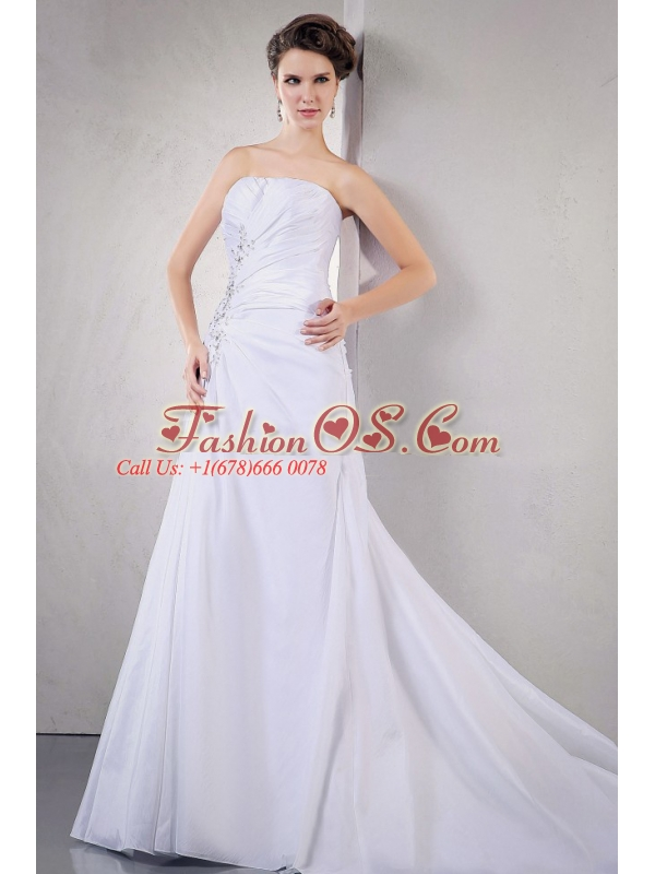 2013 Wedding Dress With Appliques and Beading Ruching Court Train