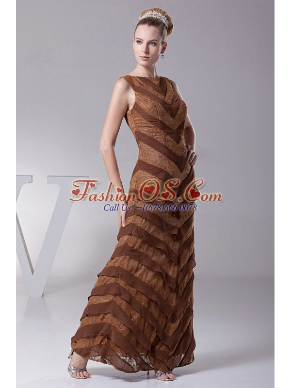 Bateau Brown Column Designer Custom Made Mother Of The Bride Dress