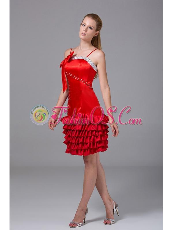 Beading and Bowknot Decorate Bodice Riffled Layers Red Taffeta Spaghetti Straps Knee-length 2013 Prom Dress