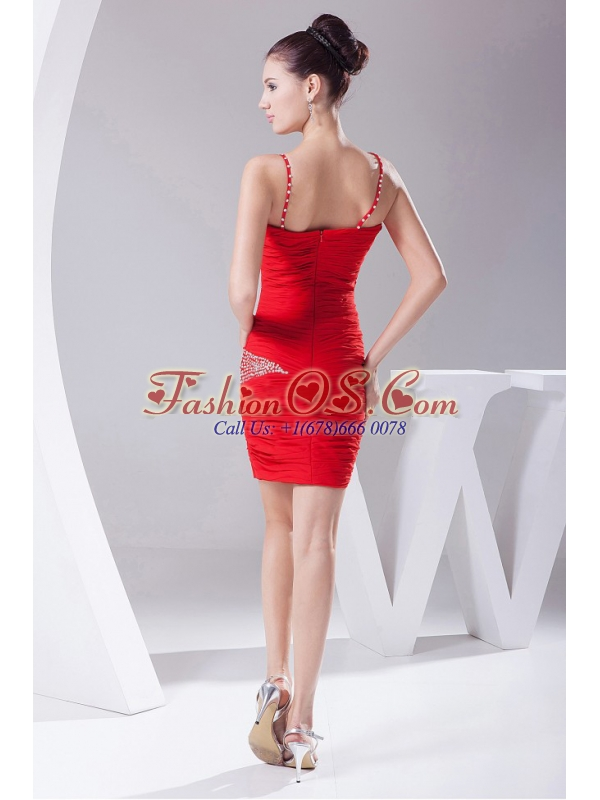 Beading and Ruching Decorate Bodice Red Chiffon Spaghetti Straps Mini-length 2013 Prom Dress