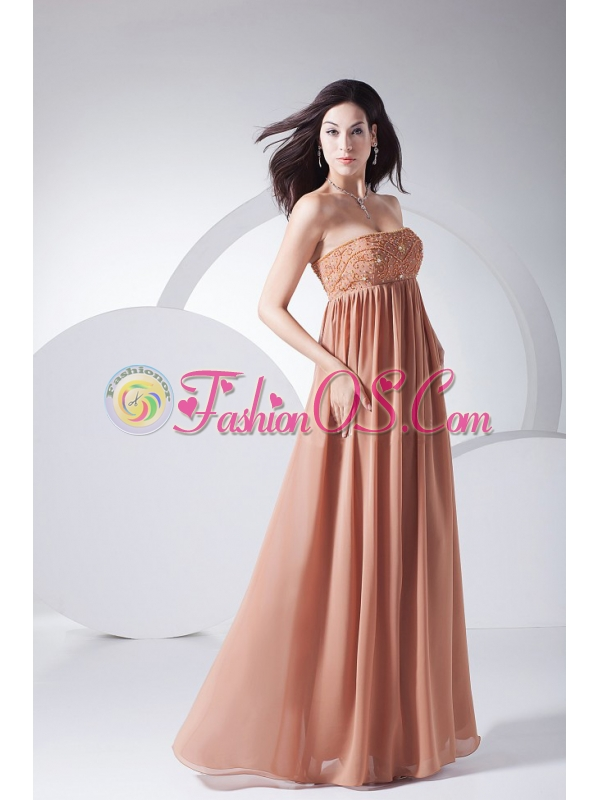 Beading Decorate Bodice Brown Chiffon Strapless Floor-length 2013 Prom Dress
