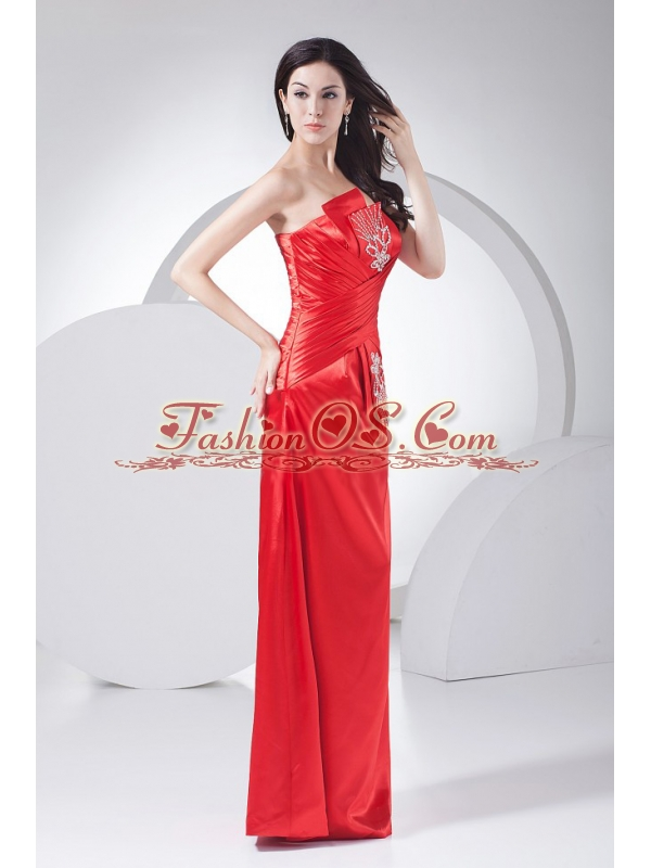 Beading Decorate Bodice Floor-length 2013 Prom Dress Strapless Red Taffeta