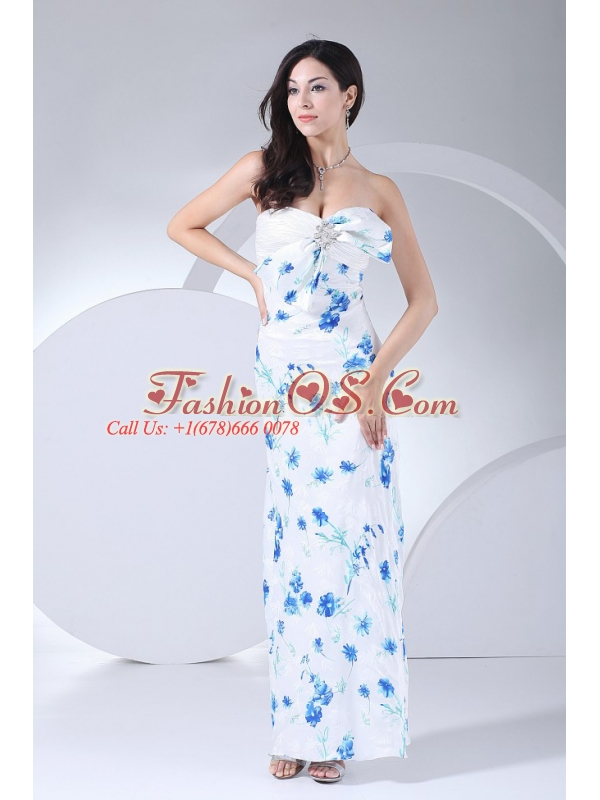 Beading Decorate Bodice Printing Ankle-length Sweetheart Neckline 2013 Prom Dress