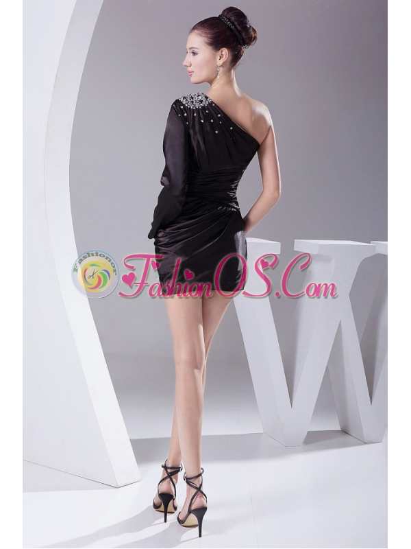 Beading Decorate One Shoulder Black Taffeta Mini-length Long Sleeve Prom / Cocktail Dress For 2013