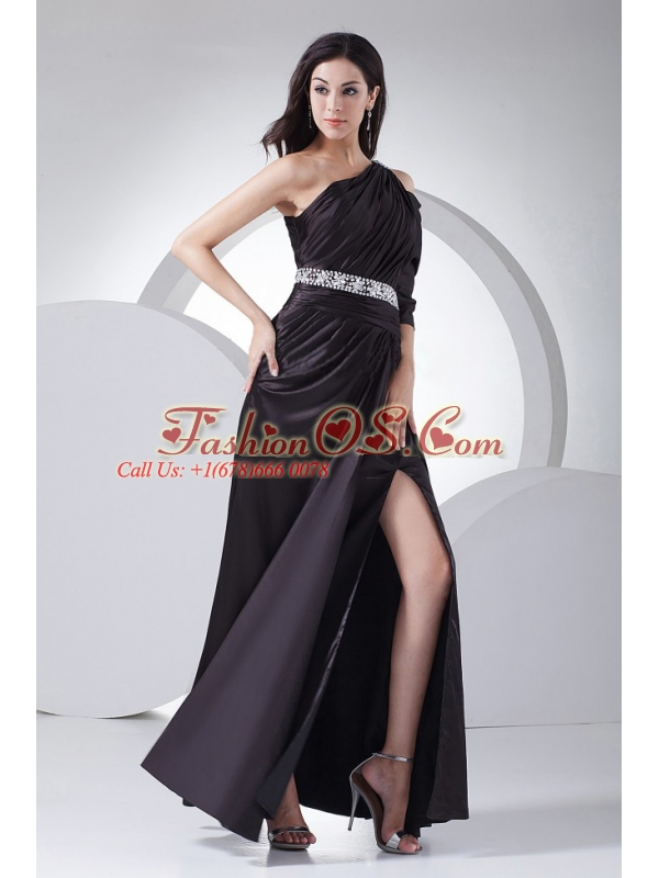 Beading Decorate Waist High Slit Black Elastic Woven Satin Ankle-length One Shoulder 2013 Prom Dress