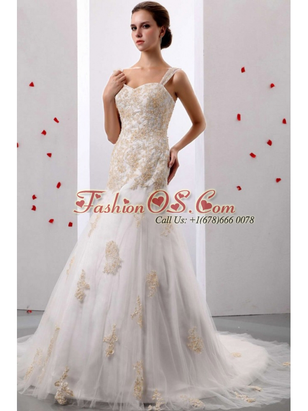 Custom Made A-line Straps Appliques Decorate Wedding Dress With Court Train In 2013