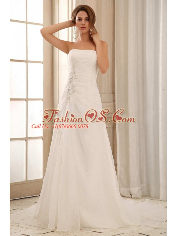 Custom Made Strapless Column Weding Dress With Ruch and Appliques Organza In 2013