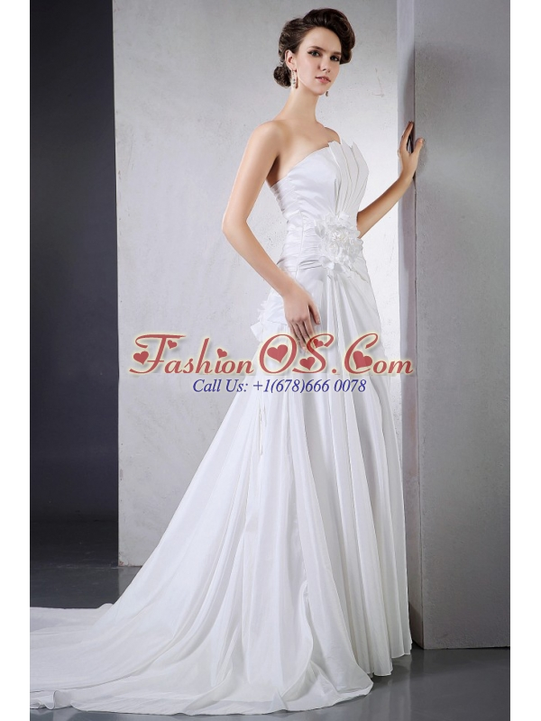 Elegant Wedding Dress With Hand Made Flower Ruching Chapel Train For Custom Made