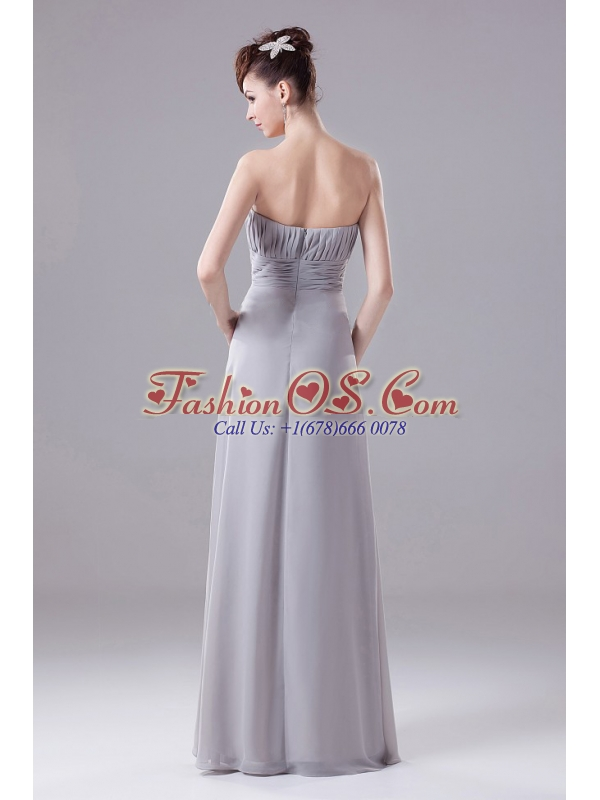 Grey Strapless Beaded Decorate Bodice Chiffon New Style Mother Of The Bride Dress