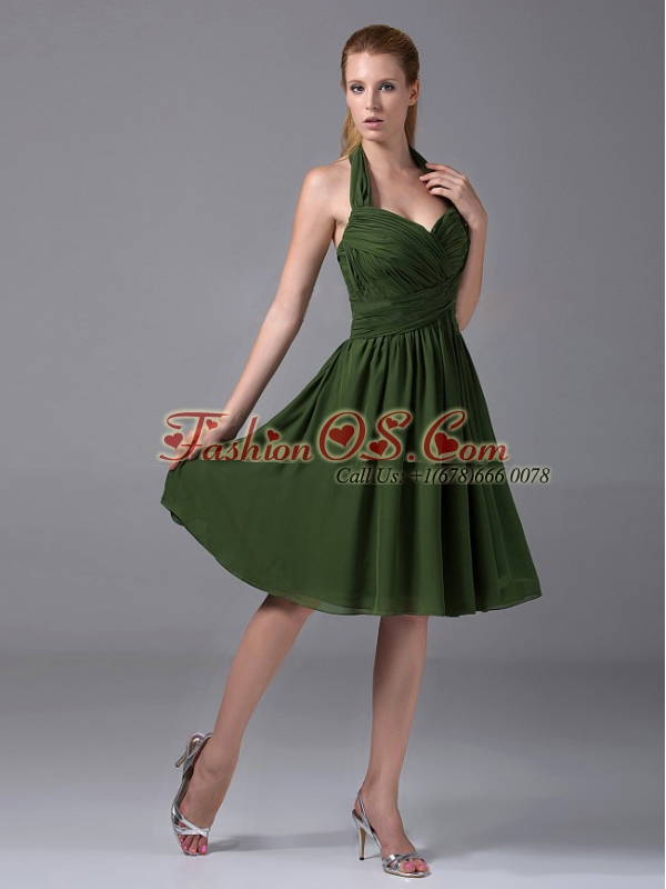 Halter Ruched Chiffon A-Line Knee-length Olive Green Bridesmaid Dress
