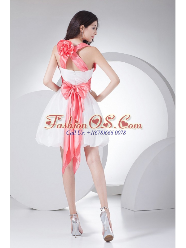 Hand Made Flowers Decorate Bodice Bowknot Mini-length White Criss Cross Straps 2013 Prom Dress