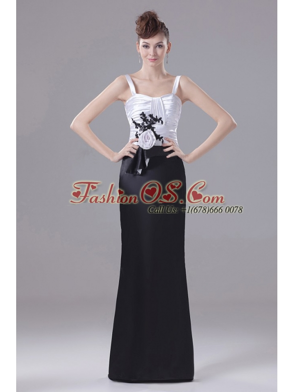 Hand Made Flowers Straps Black And White Mother Of The Bride Dress