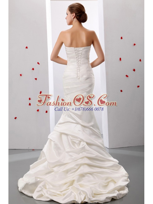 Mermaid Sweetheart Ruch and Appliques 2013 Weding Dress With Taffeta