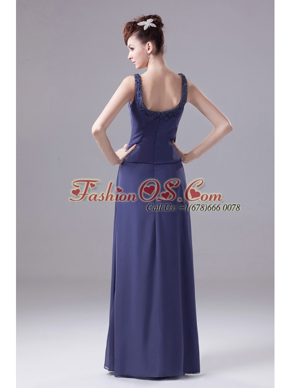 Navy Blue Empire Beaded Decorate Shoulder Mother Of The Bride Dress With Square