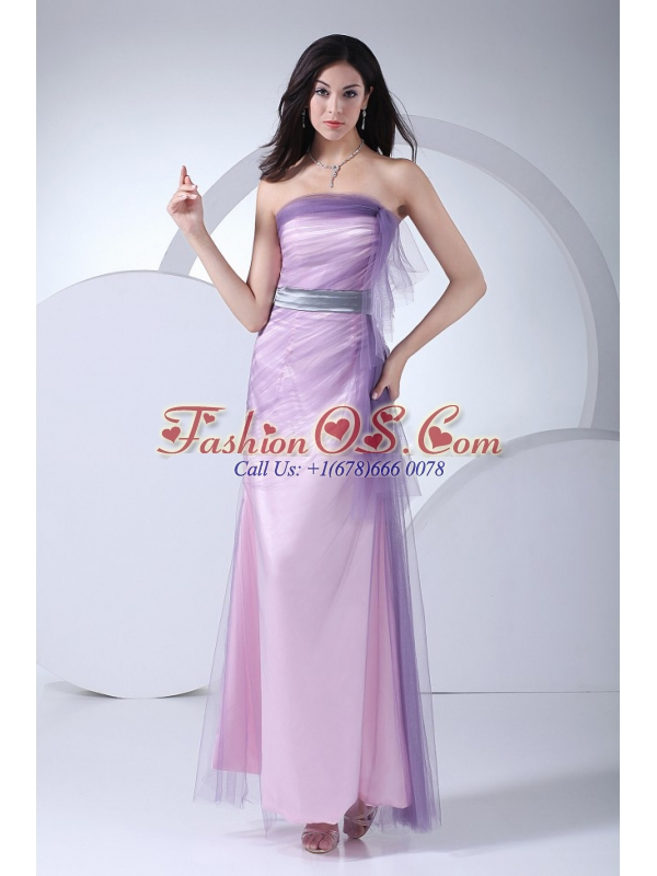 Pink Taffeta and Tulle Ankle-length Strapless 2013 Prom Dress Sash