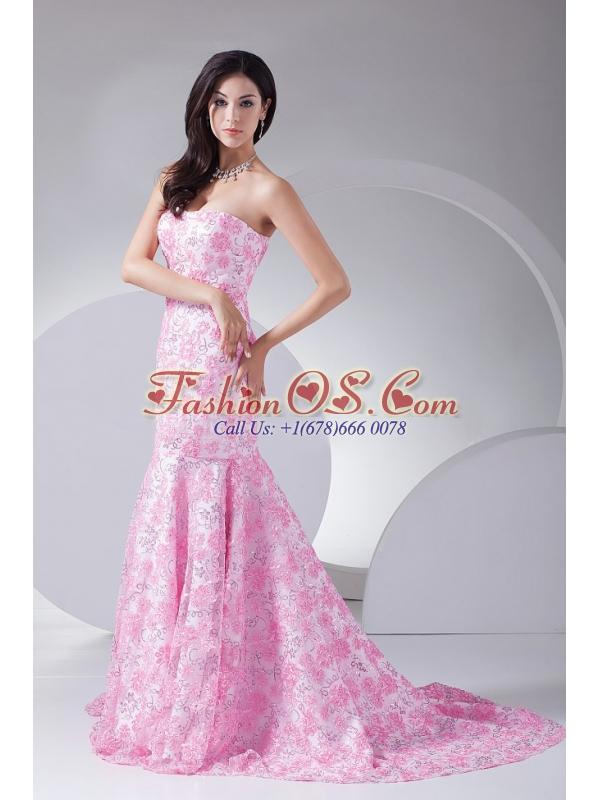 Printing Mermaid Strapless Brush Train 2013 Prom Dress For Formal Evening