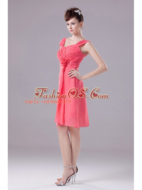 Ruched and Hand Made Flower Knee-length Straps Chiffon A-Line Watermelon Bridesmaid Dress