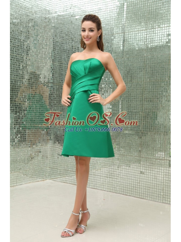 Ruched Strapless Knee-length A-Line Taffeta Bridesmaid Dress Green
