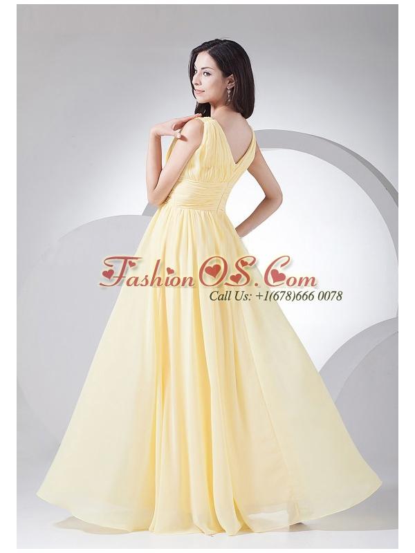 Ruching Decorate Bodice Light Yellow Chiffon V-neck 2013 Prom Dress Floor-length