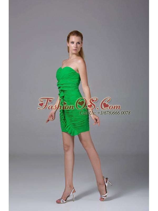 Ruching Decorate Bodice Spring Green Chiffon Mini-length 2013 Prom Dress