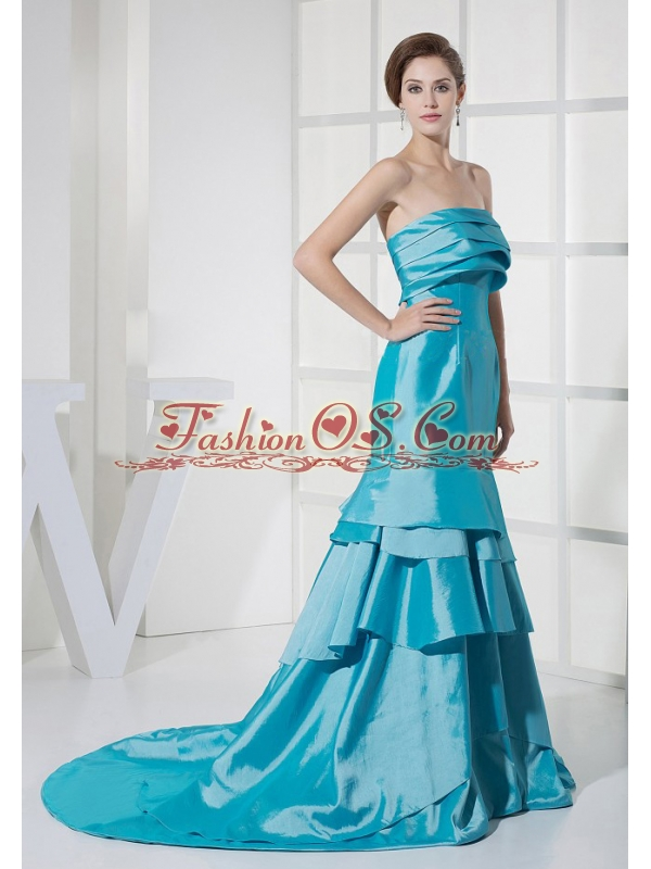 Ruffled Layers Decorate Bodice Prom Dress For Formal Evening Aqua Blue Brush Train