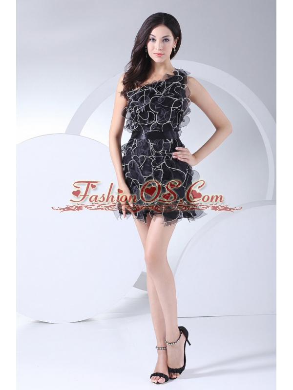 Ruffles Decorate Bodice Black Organza Mini-length One Shoulder 2013 Prom Dress