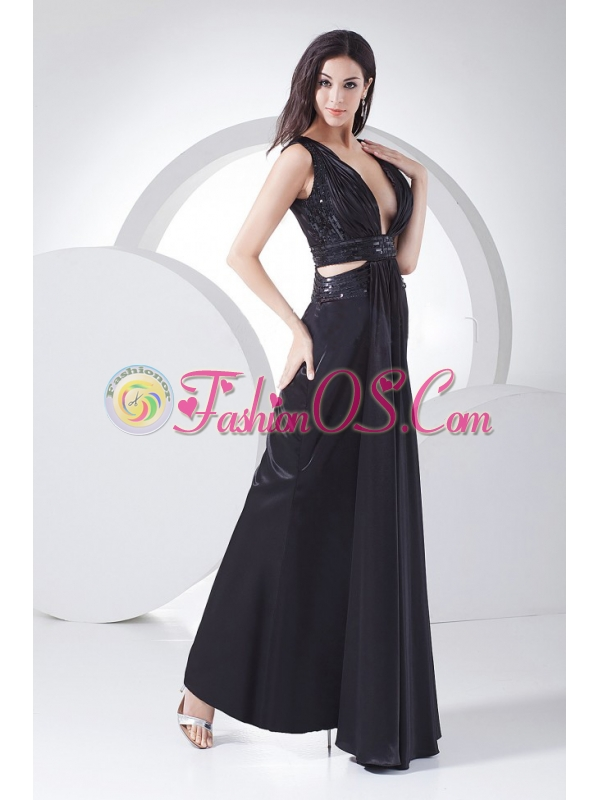 Sexy Prom Dress For 2013 V-neck Black Elastic Woven Satin Ankle-length