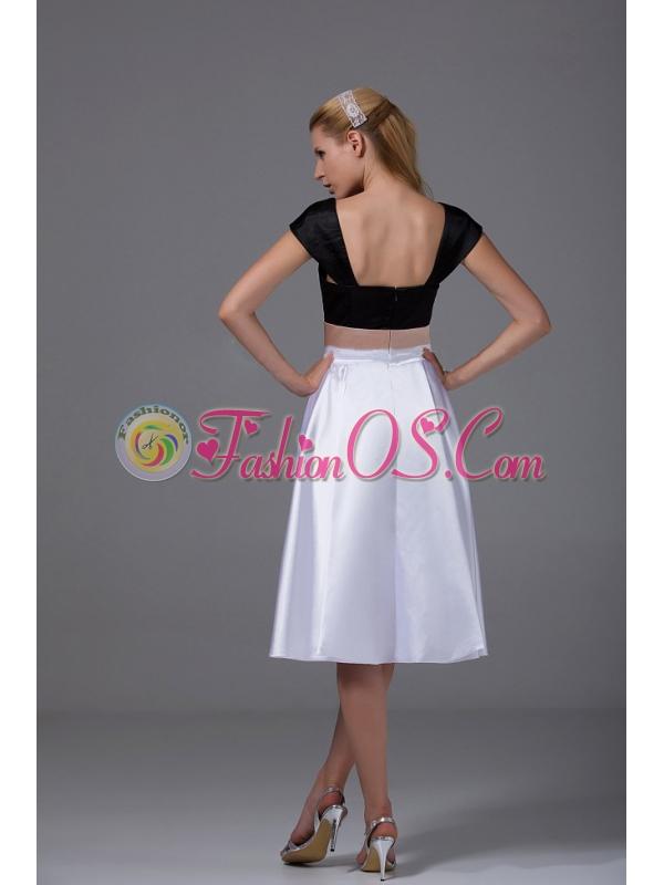 White and Black Satin Knee-length 2013 Prom Dress Cap Sleeves