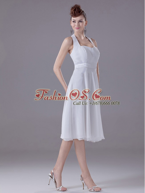 White Halter Empire Chiffon Tea-length Bridesmaid Dress