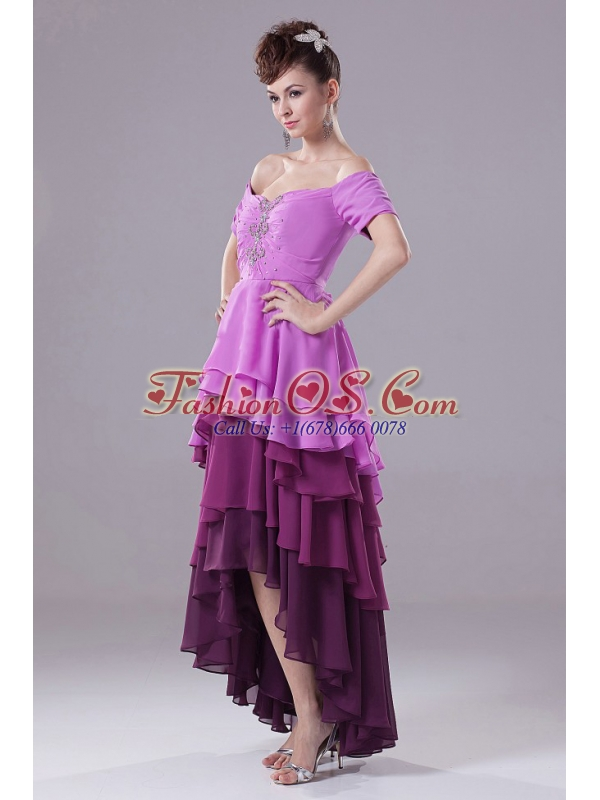 Amazing Colorful Prom Dress With Off The Sholulder Beading Ruffled Layers and High-low