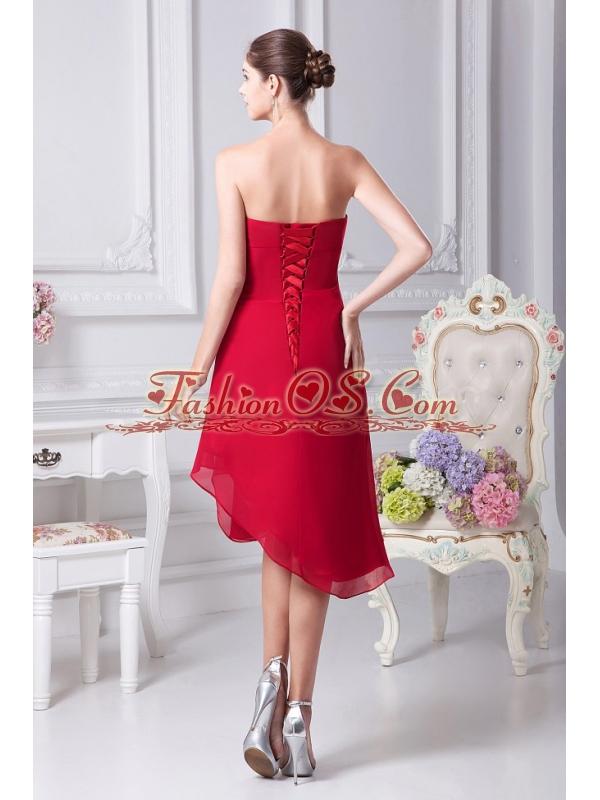 Appliques Decorate Bodice Strapless Chiffon Asymmetrical Wine Red 2013 Prom Dress