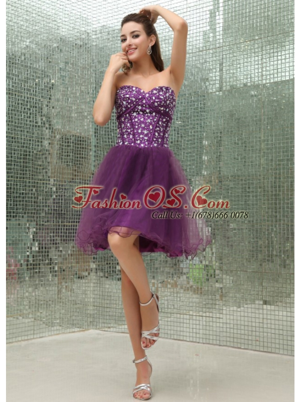 Beaded Bodice and Sweetheart For Purple Prom Dress With Mini-length
